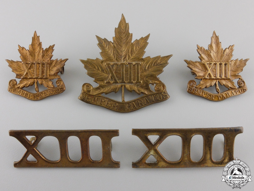 """eMedals-A Canadian 13th """"Royal Regiment"""" Militia Insignia Set"""