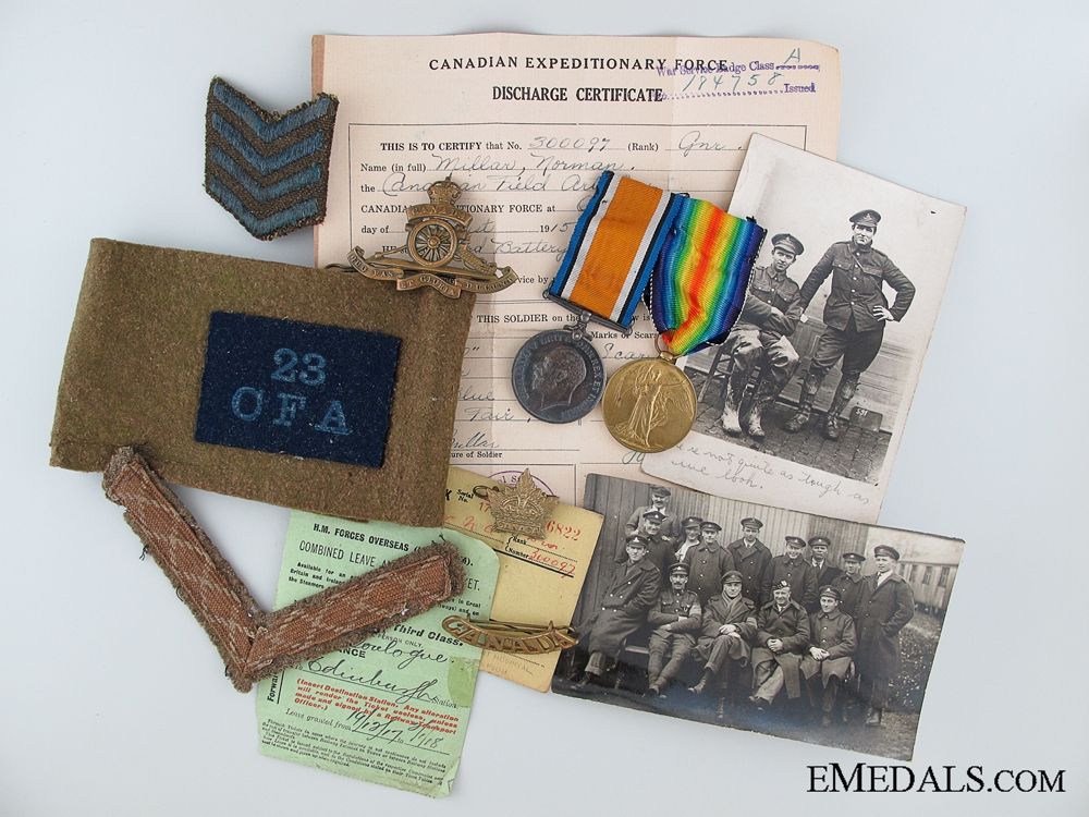 eMedals-A Canadian Field Artillery Pair & Documents