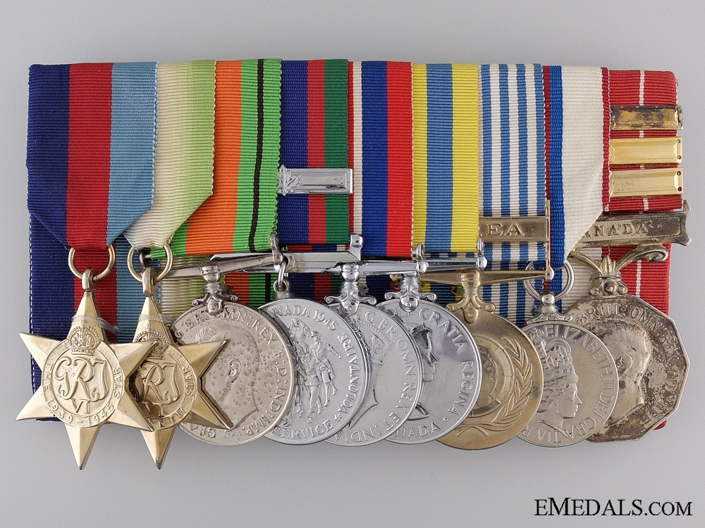 eMedals-A Canadian Second War & Korea Naval Medal Bar of Nine Awards