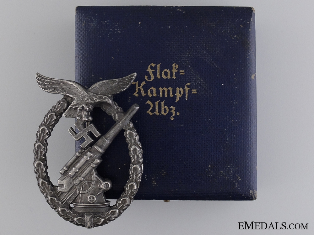 eMedals-A Cased Luftwaffe Flak Badge by Juncker