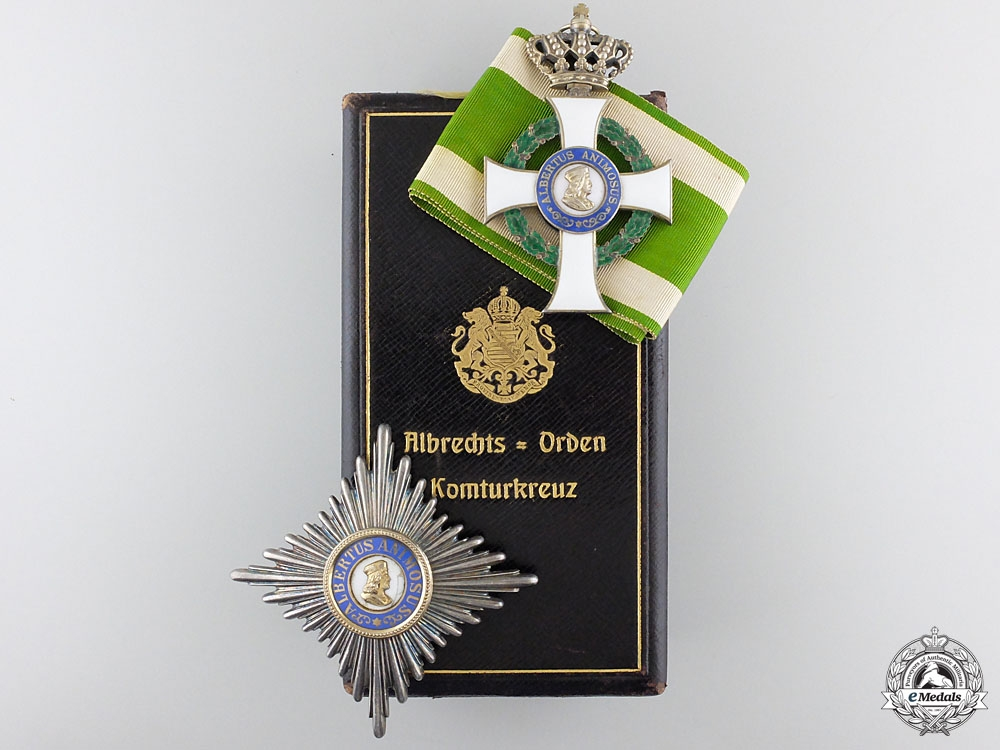 eMedals-A Cased Saxon Order of Albert; Komturkreuz by Glaser & Sohn