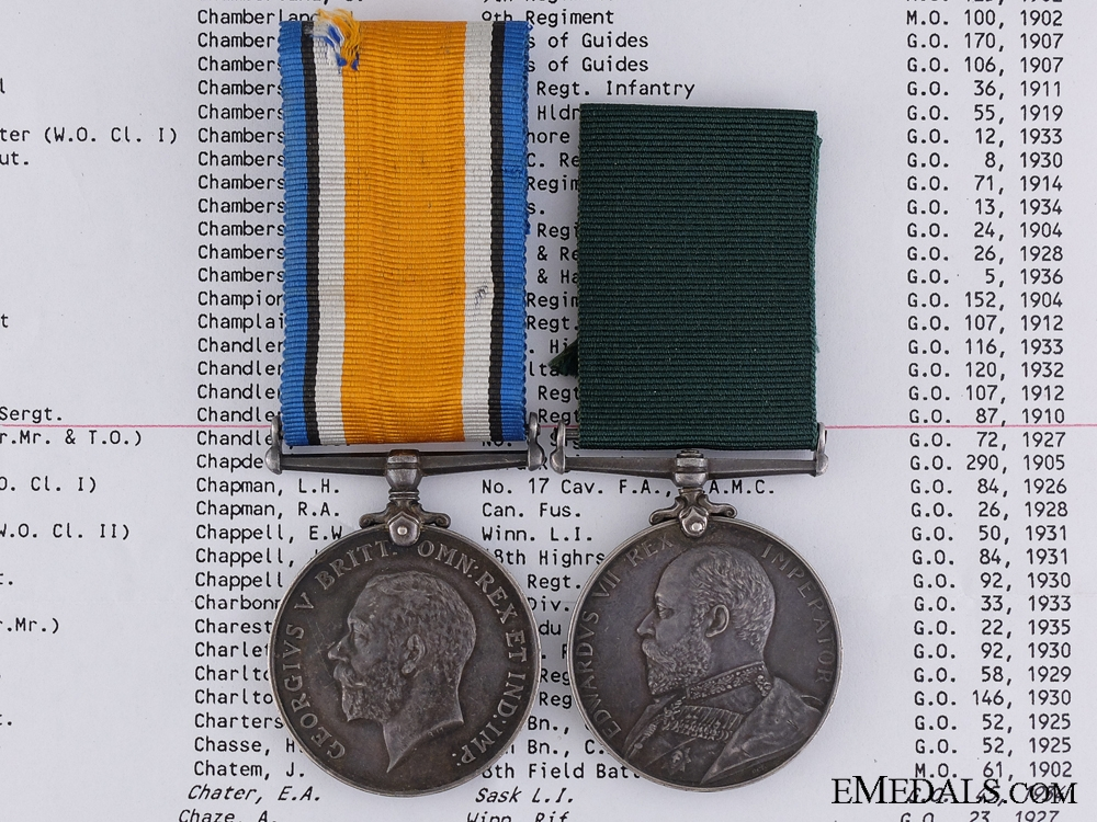 eMedals-A Colonial Long Service Medal Pair to Colour Sergeant Chandler