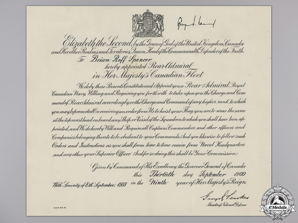 eMedals-A Commission Documents Signed by Victoria Cross Recipient Pearkes