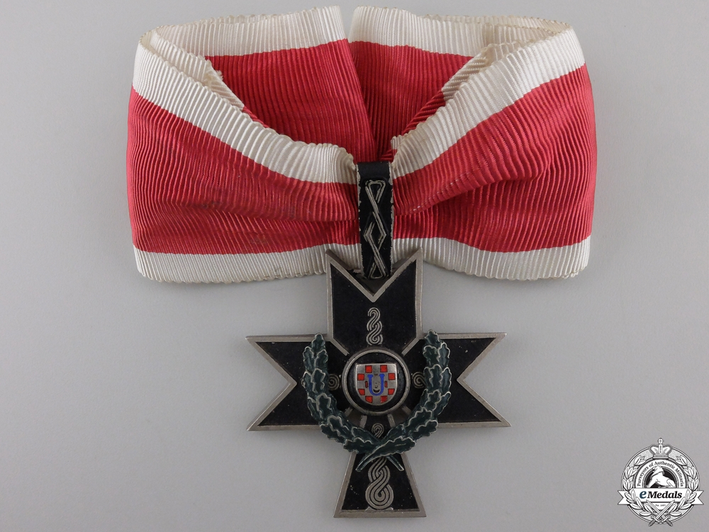 eMedals-A Croatian Order of the Iron Trefoil; First Class Cross with Oakleaves