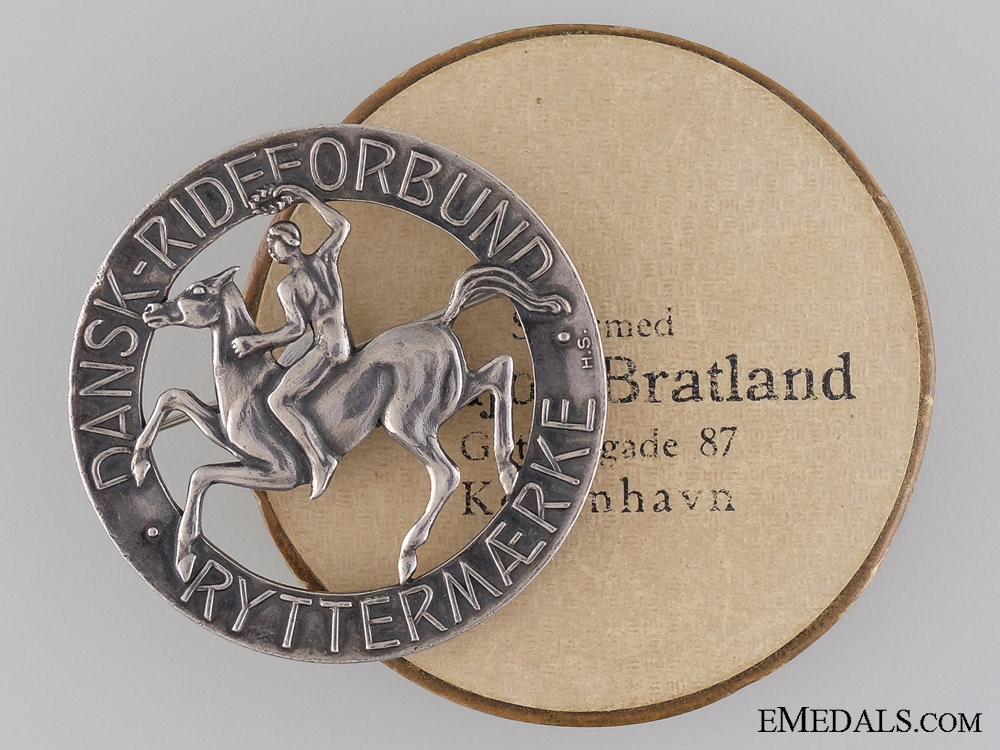 eMedals-A Danish Ryttermaerke Rider's Badge; Silver Grade