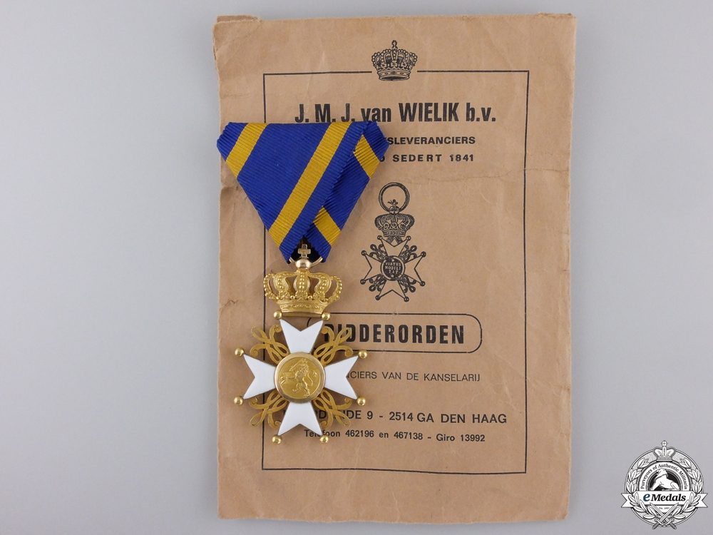 eMedals-A Dutch Order of the Lion; 3rd Class in Gold with Packet of Issue