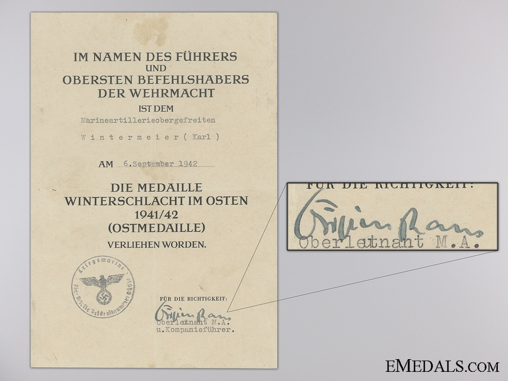 eMedals-A Eastern Front Medal Document to Karl Wintermeier