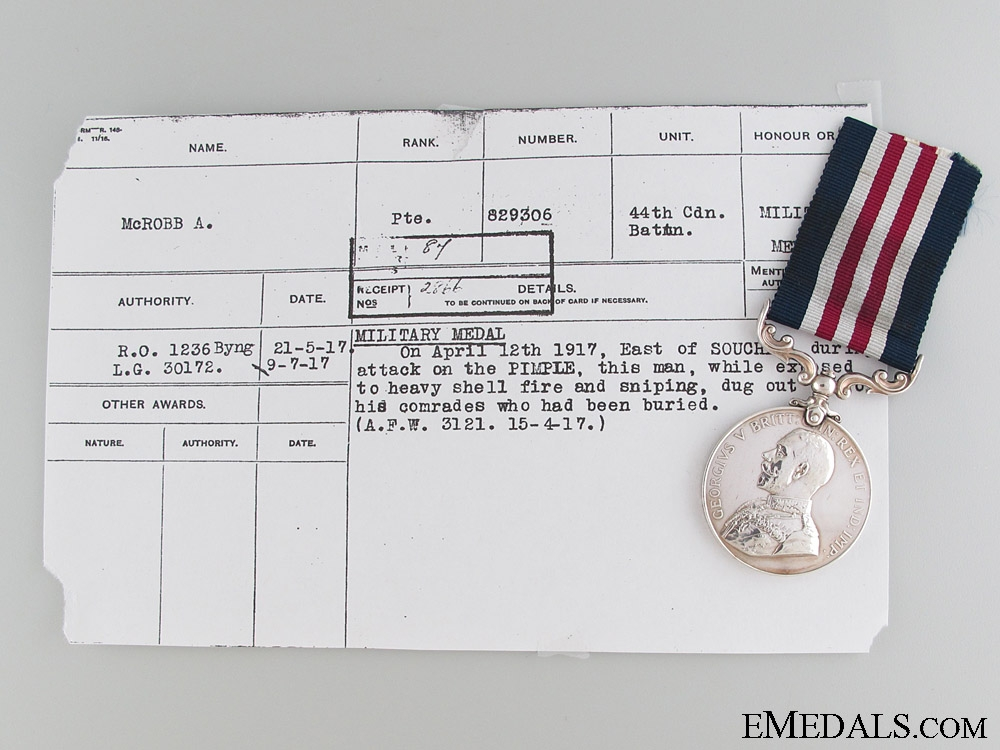 eMedals-A Fine Vimy Rdige M.M. to the 44th Battalion