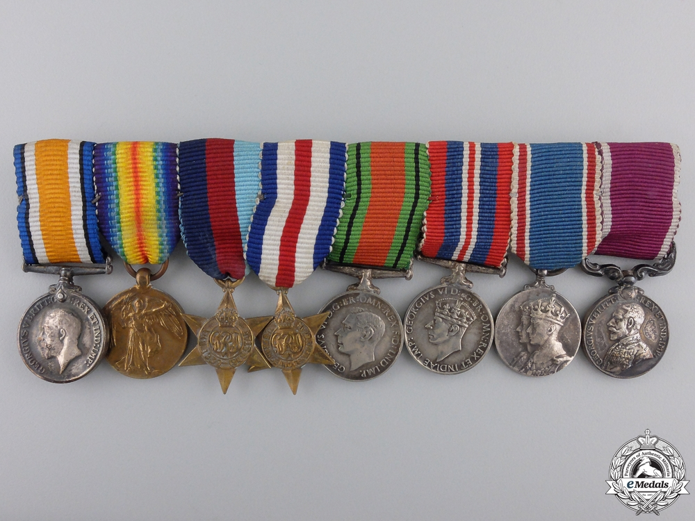 eMedals-A First & Second War Long Service Miniature Medal Bar