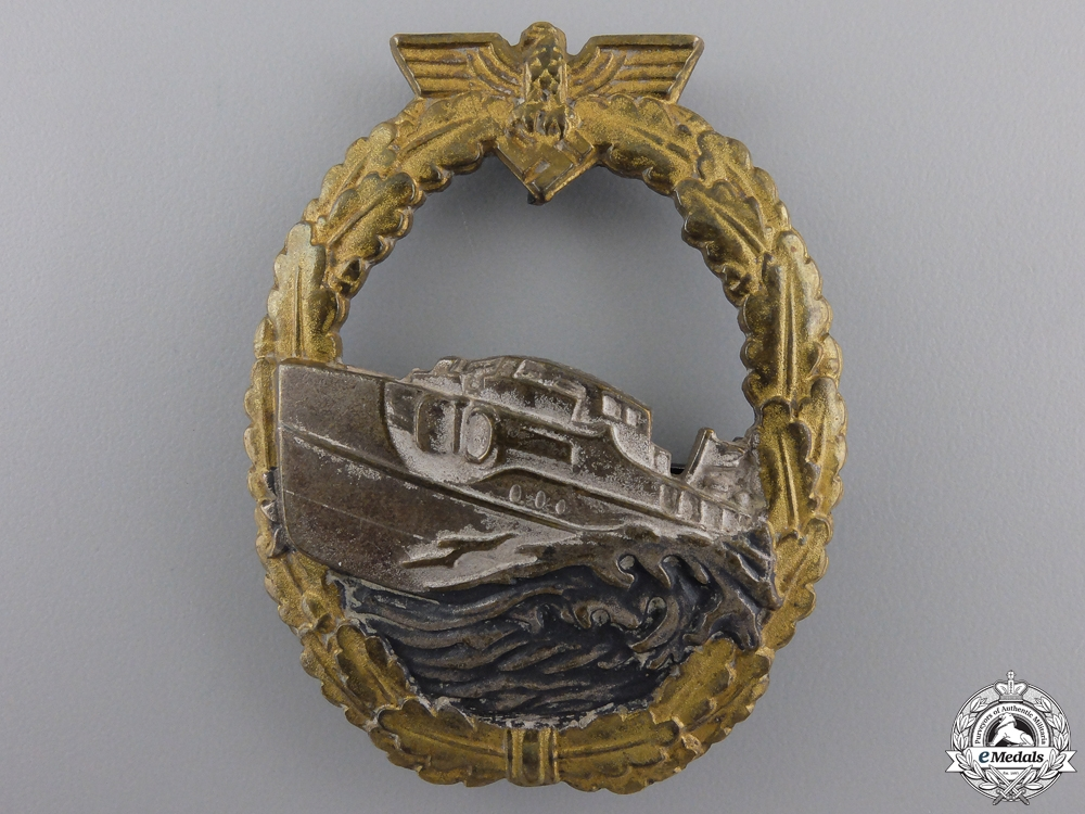eMedals-A First Version Kriegsmarine E-Boat Badge by Schwerin