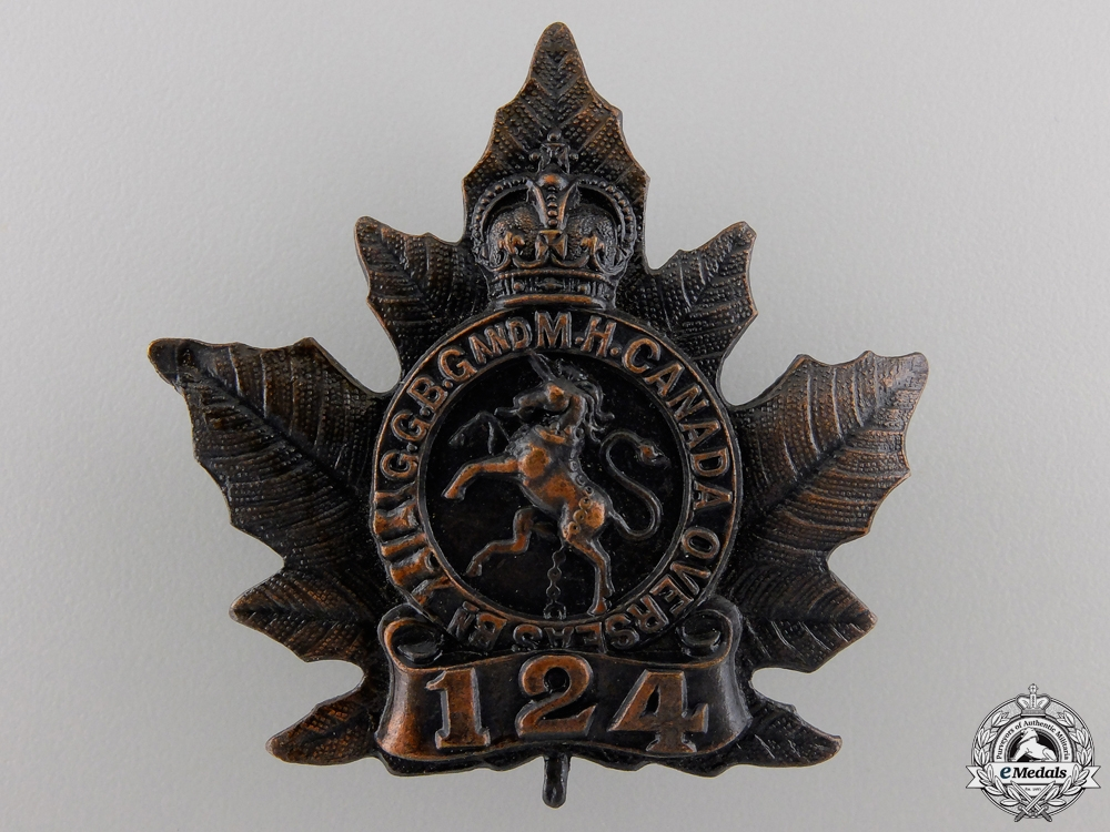 eMedals-A First War 124th Canadian Infantry Battalion Cap Badge