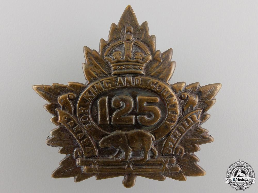 eMedals-A First War 125th Battalion Cap Badge