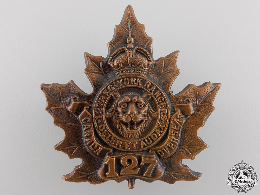 """eMedals-A First War 127th Battalion """"12th York Rangers"""" Cap Badge"""