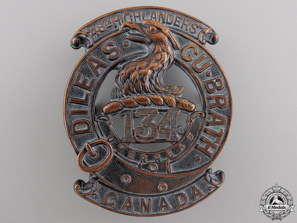 eMedals-A First War 134th Canadian Infantry Battalion Glengarry Badge