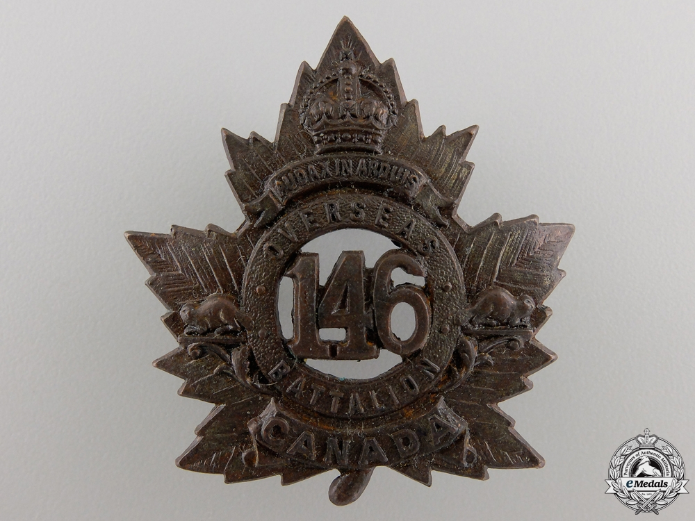 eMedals-A First War 146th Battalion Cap Badge