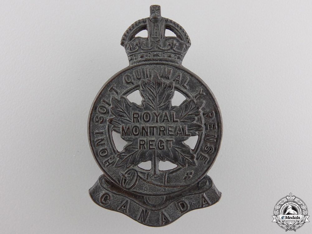 "eMedals-A First War 14th Infantry Battalion ""Royal Montreal Regiment"" Cap Badge"