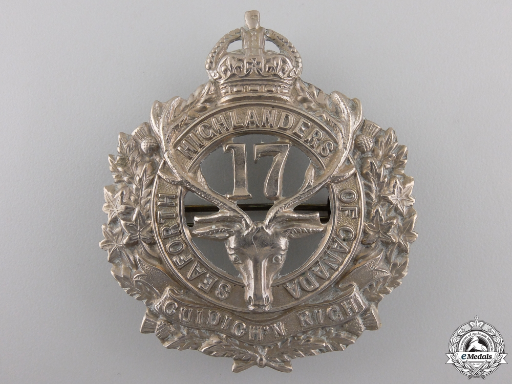 eMedals-A First War 17th Infantry Battalion Cap Badge CEF
