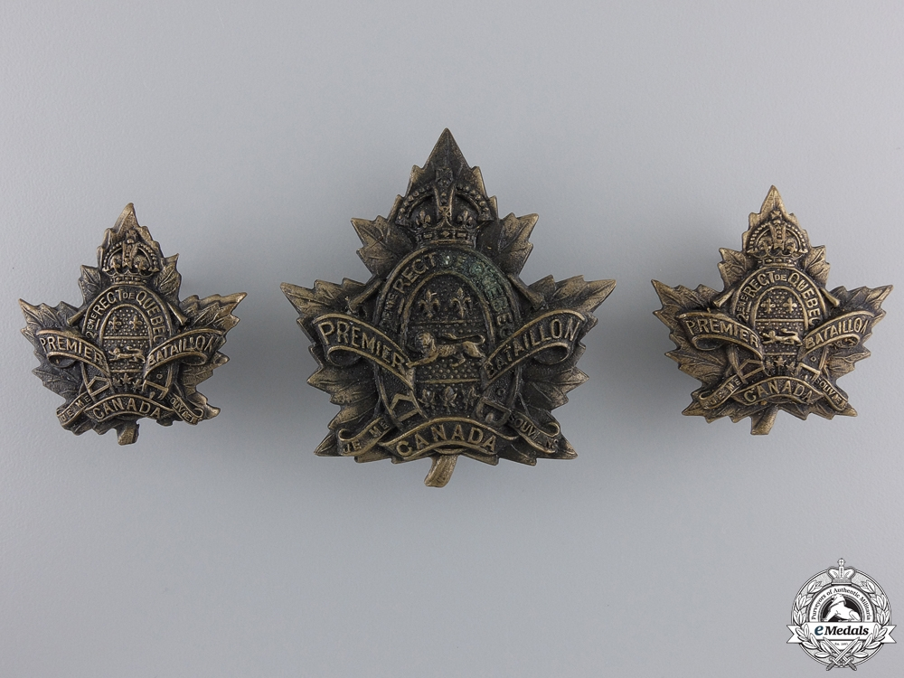 eMedals-A First War 1st Depot Battalion; 2nd Quebec Regiment Insignia Set