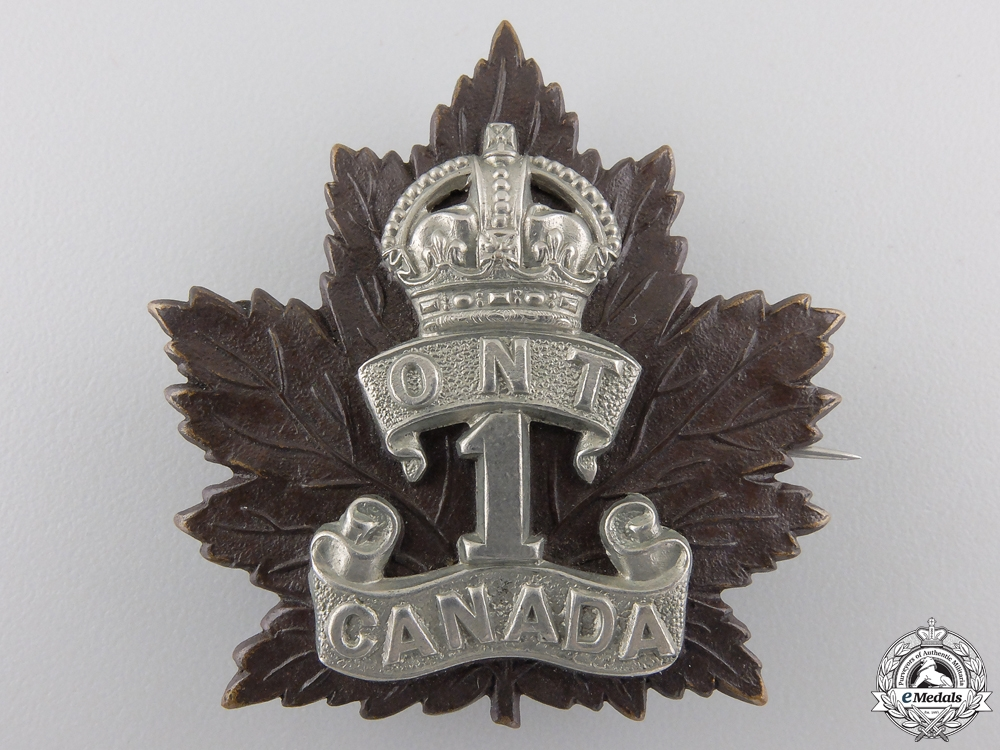 "eMedals-A First War 1st Infantry Battalion ""Ontario Regiment"" Cap Badge"