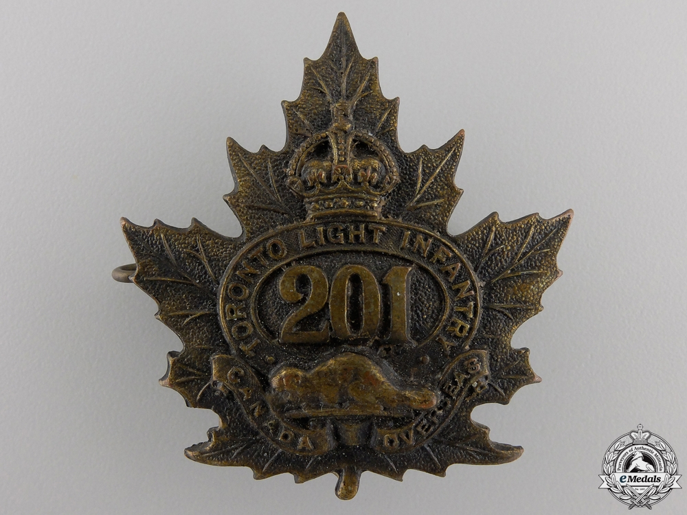 "eMedals-A First War 201st Battalion ""Toronto Light Infantry"" Cap Badge"