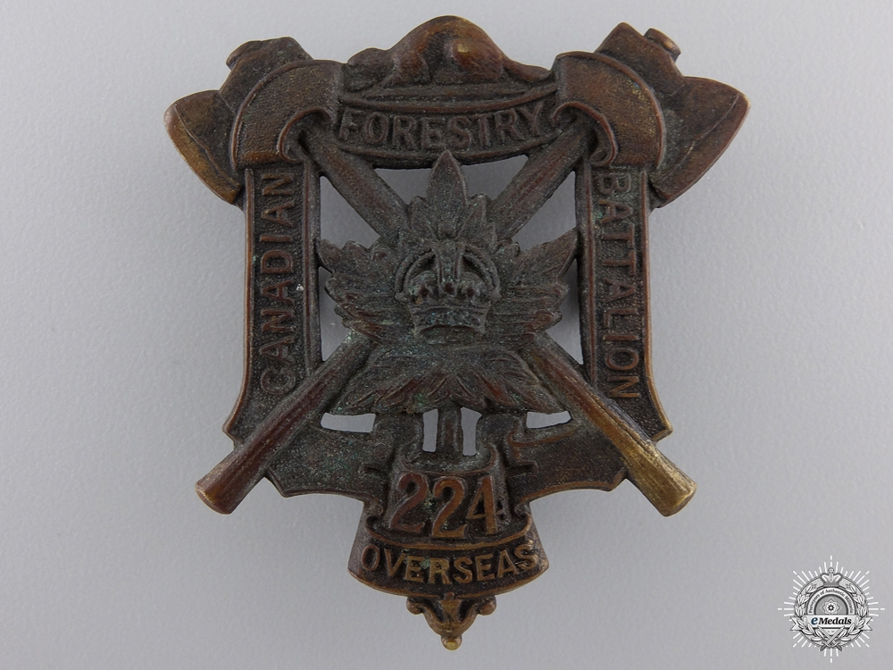 """eMedals-A First War 224th """"Canadian Forestry Battalion"""" Cap Badge"""