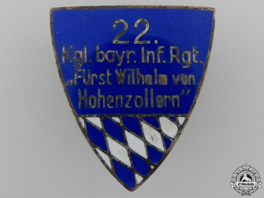 eMedals-A First War 22nd Bavarian Infantry Regiment Badge