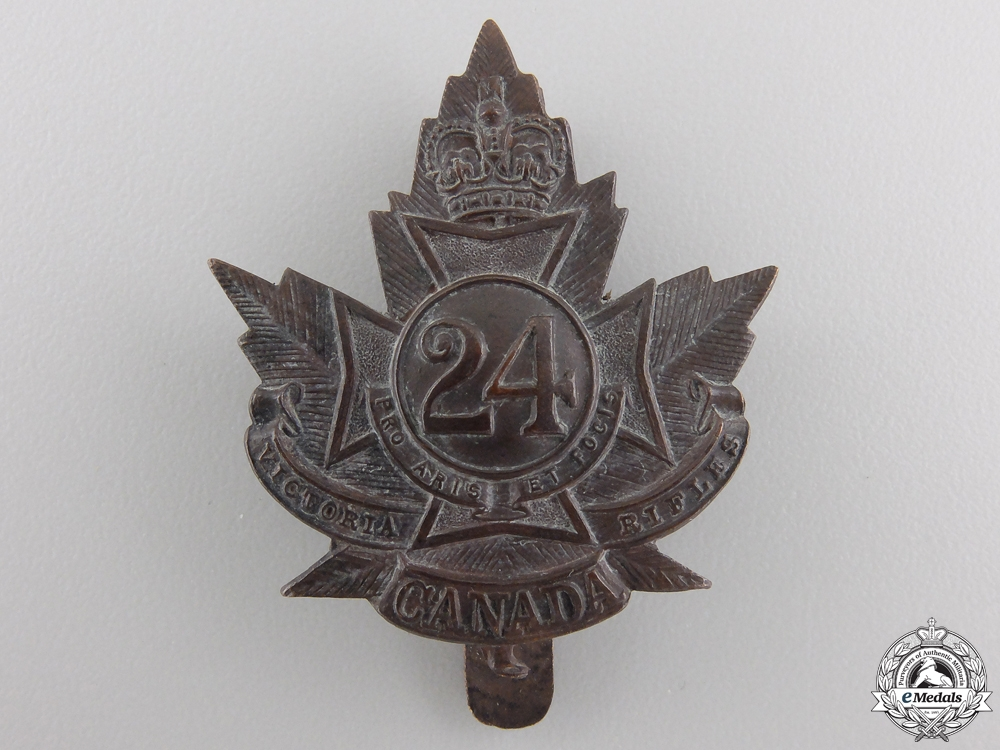 "eMedals-A First War 24th Infantry Battalion ""Victoria Rifles"" Cap Badge"