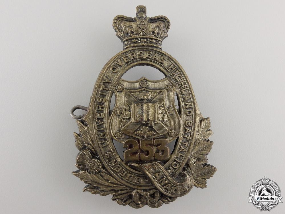 eMedals-A First War 253rd Infantry Battalion Queen's University Cap Badge