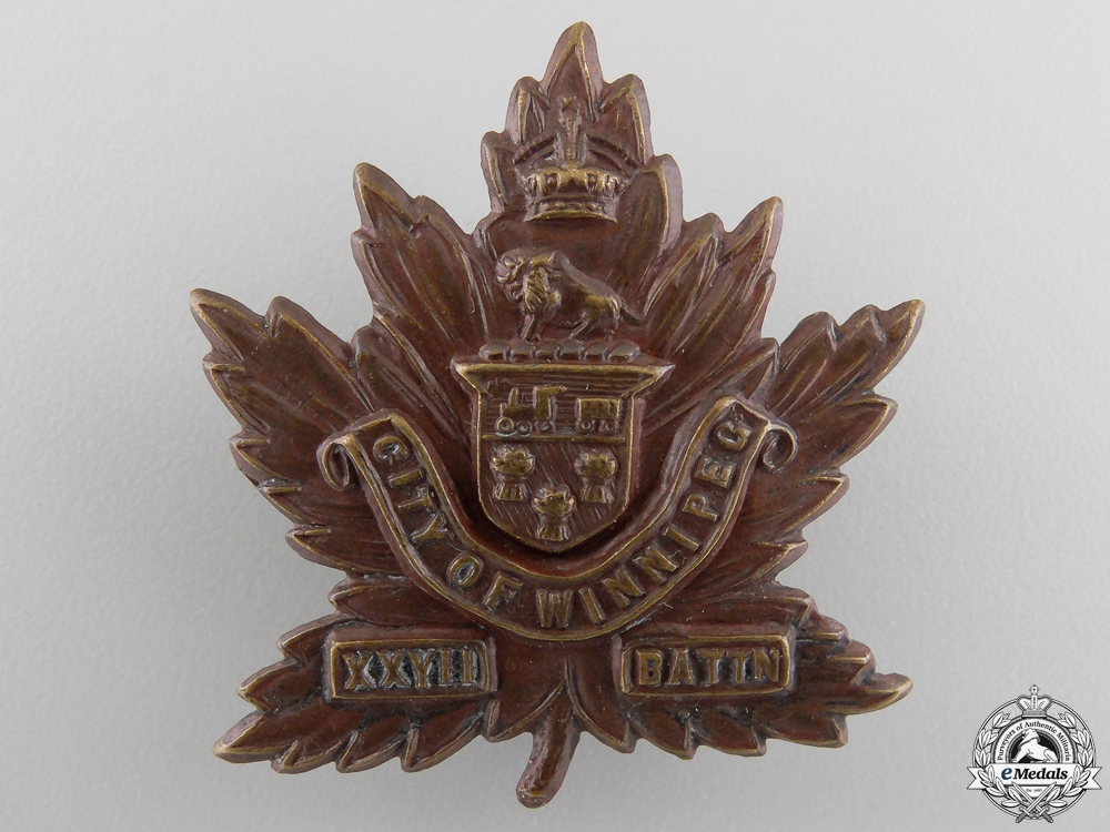 "eMedals-A First War 27th Infantry Battalion ""City of Winnipeg Regiment"" Cap Badge"