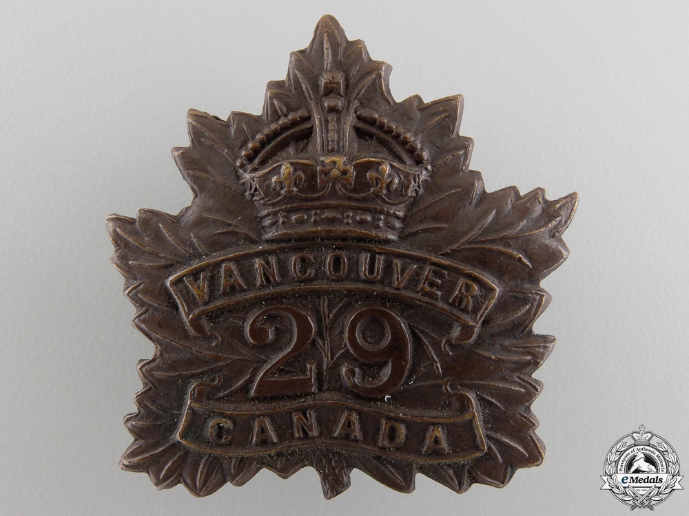 "eMedals-A First War 29th Infantry Battalion ""Tobin's Tigers"" Cap Badge"