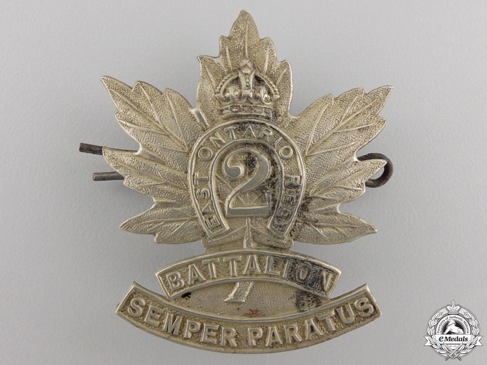 "eMedals-A First War 2nd Battalion ""East Ontario Regiment"" Cap Badge"
