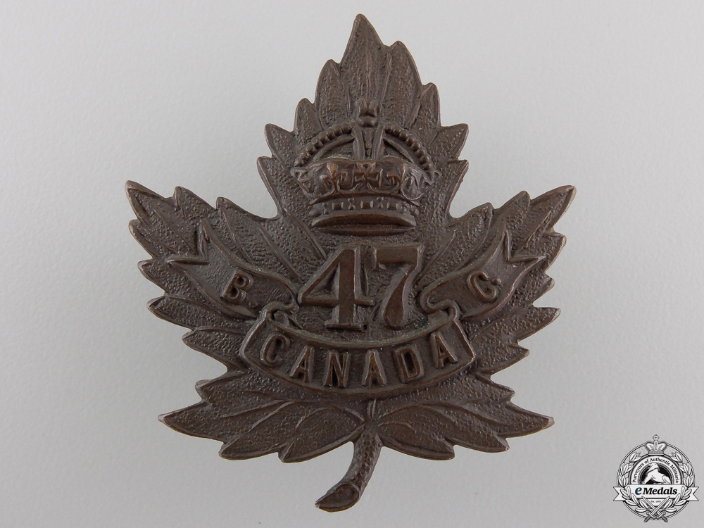 eMedals-A First War 47th Infantry Battalion Cap Badge