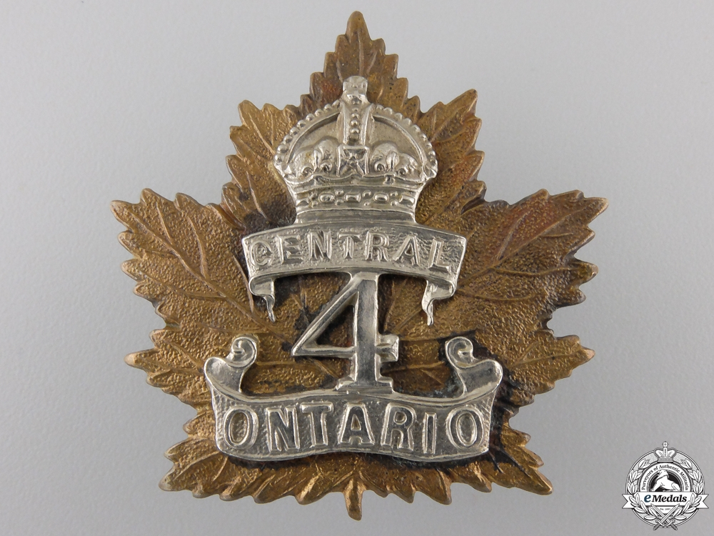 eMedals-A First War 4th Infantry Battalion Cap Badge