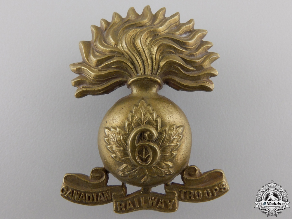 eMedals-A First War 6th Canadian Railway Troops Cap Badge CEF