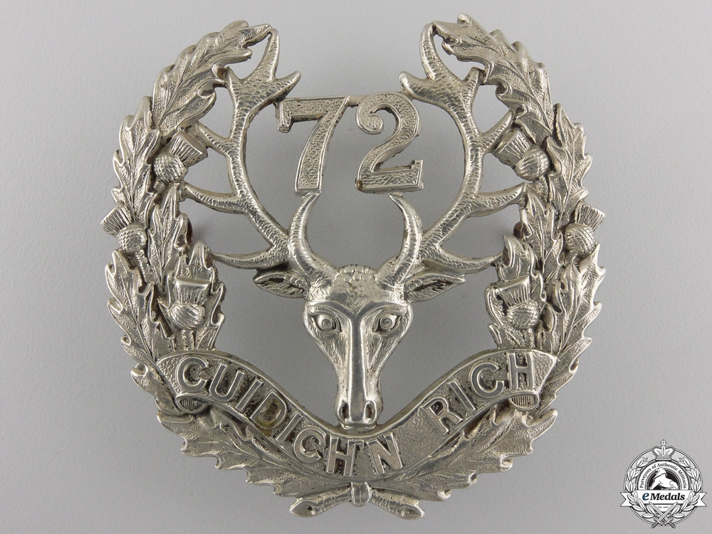 "eMedals-A First War 72nd Battalion ""Seaforth Highlanders"" Glengarry Badge"