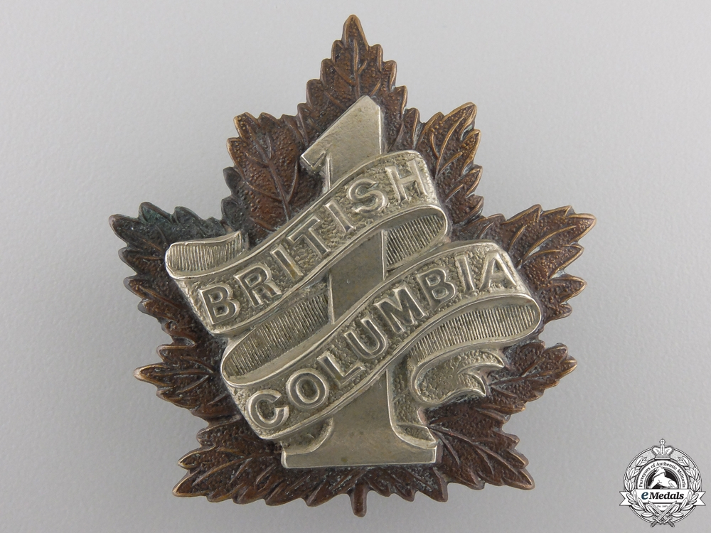 "eMedals-A First War 7th Infantry Battalion ""1st British Columbia Regiment"" Cap Badge"