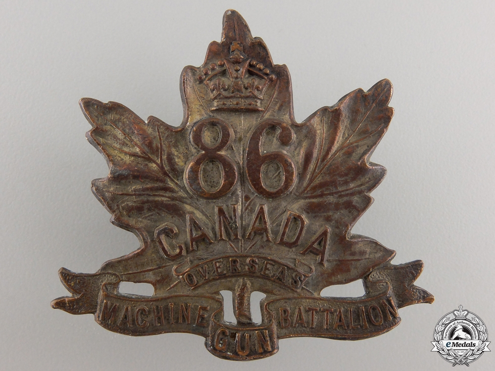 eMedals-A First War 86th Machine Gun Battalion Cap Badge
