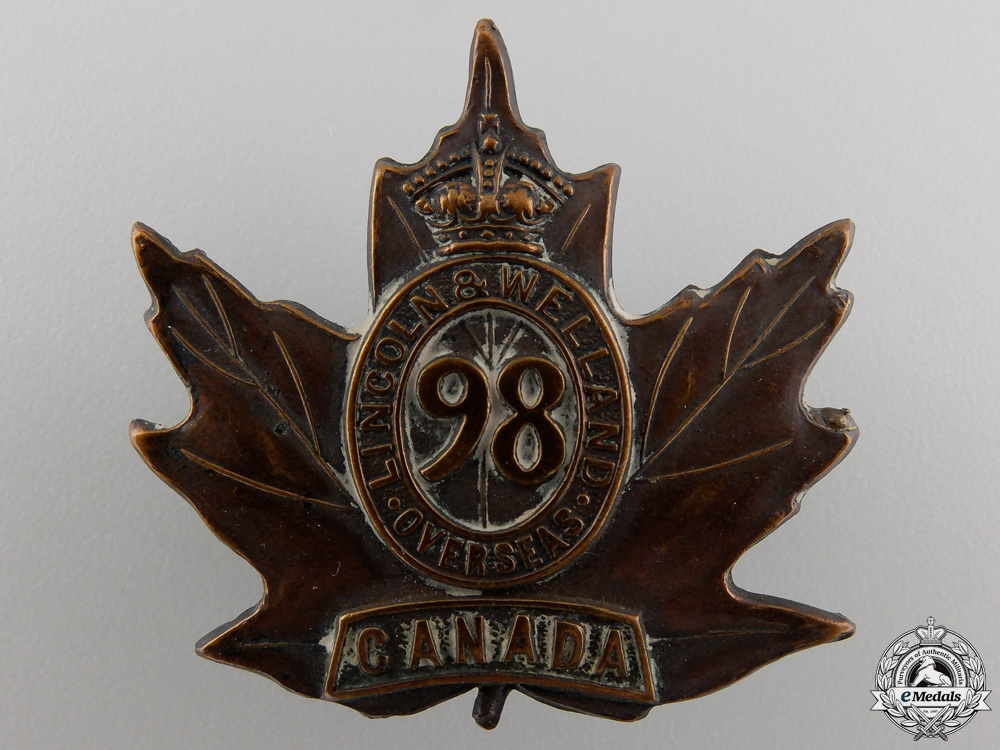 "eMedals-A First War 98th Battalion ""Lincoln & Welland"" Cap Badge"