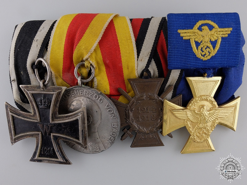 eMedals-A First War & Police Service German Medal Bar