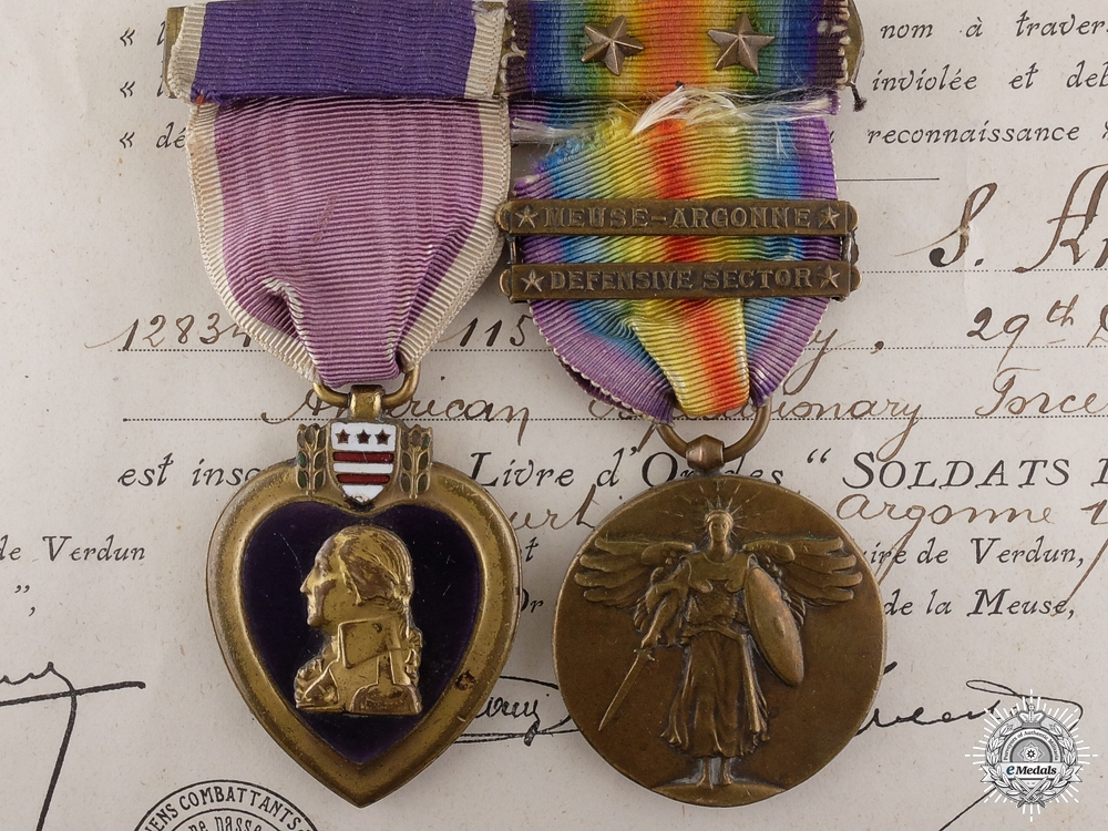 eMedals-A First War American Purple Heart Pair to the 115th Infantry AEF