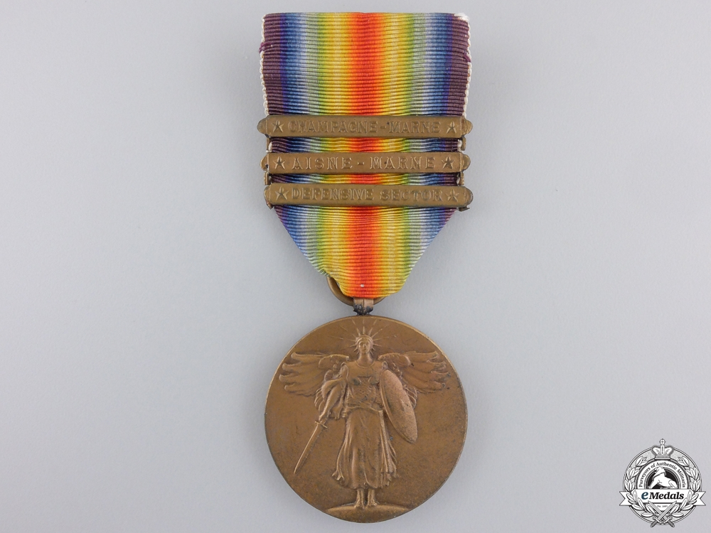 eMedals-A First War American Victory Medal; Three Bars