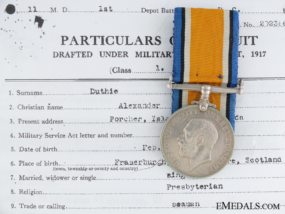 eMedals-A First War British War Medal to the British Columbia Regiment