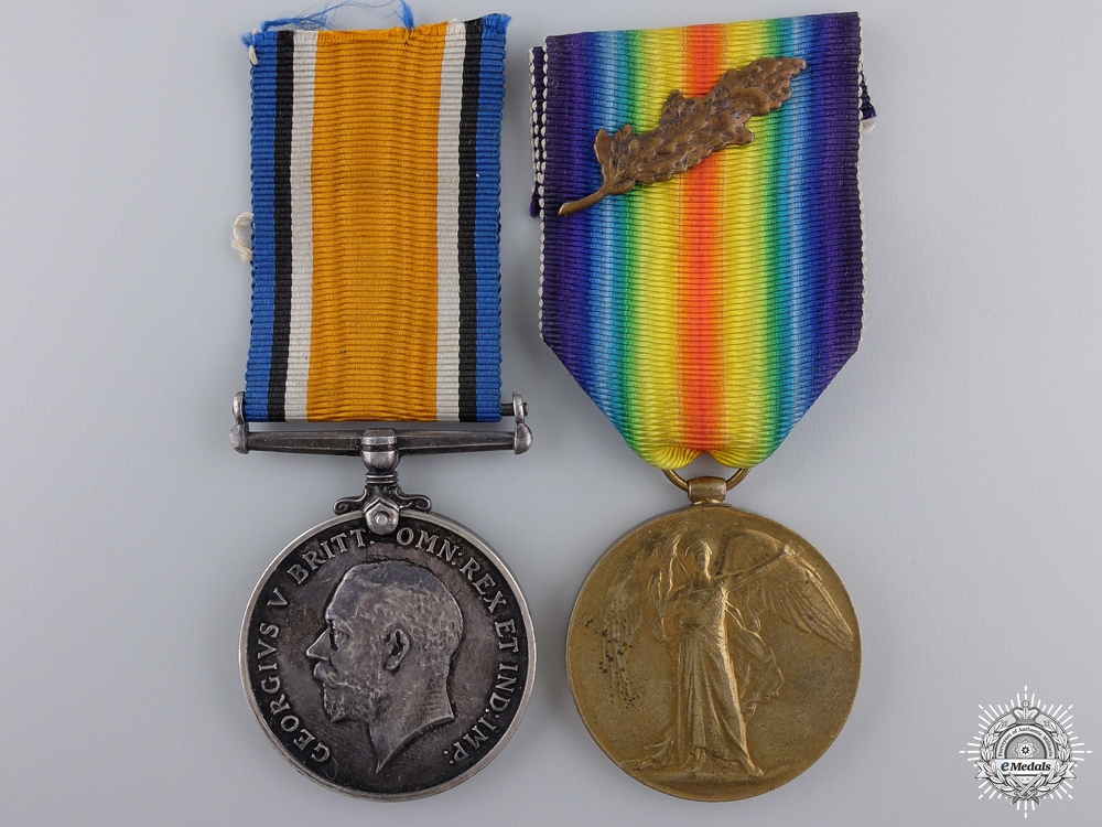 eMedals-A First War Canadian MID Pair to the Pioneer Batt; DOW 1917