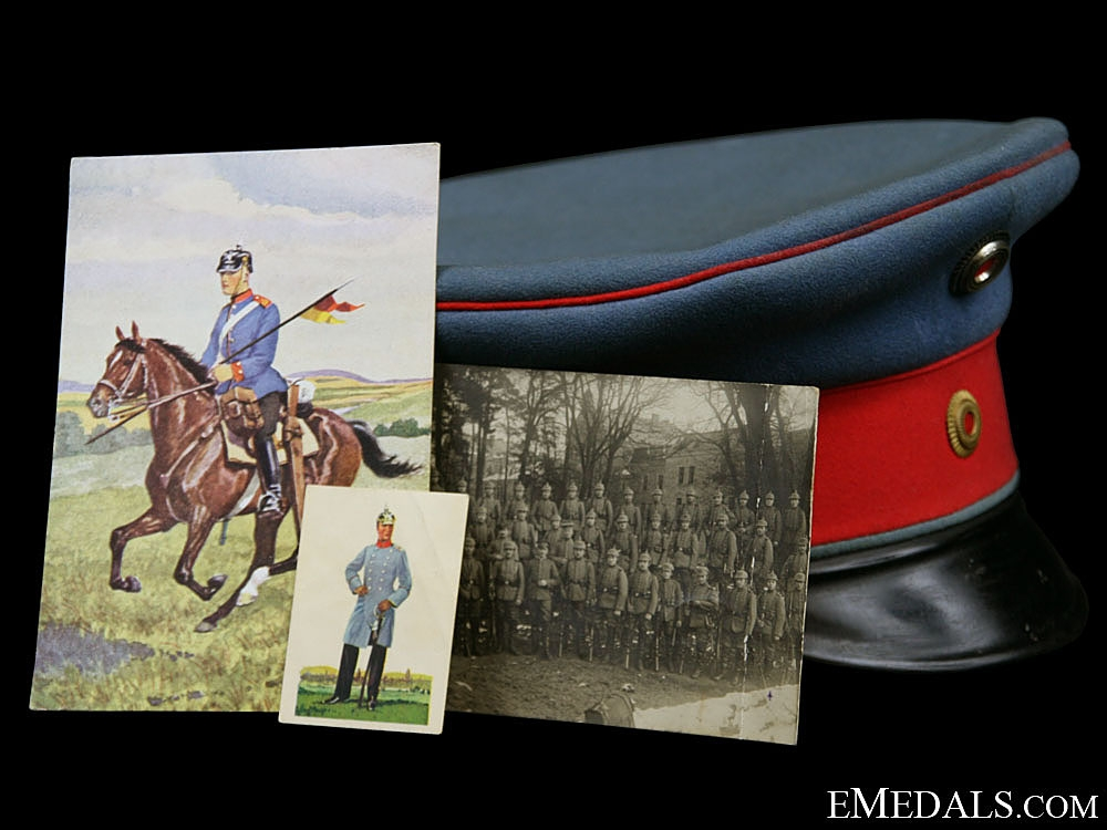 eMedals-A First War Baden Dragoon Regiment Peaked Cap, Named