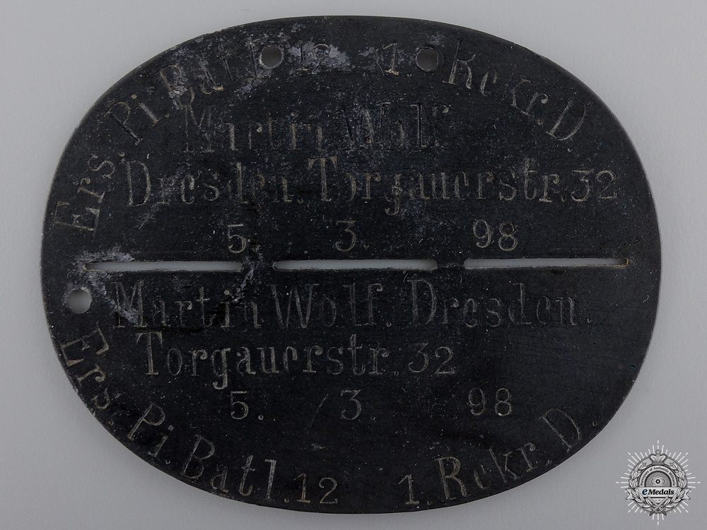 eMedals-A First War German ID Tag to the Pioneer Battalion