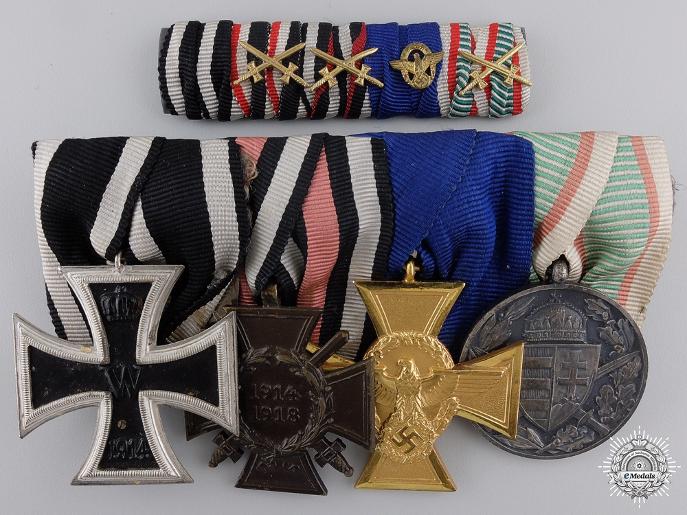 eMedals-A First War German Imperial & Police Service Medal Bar