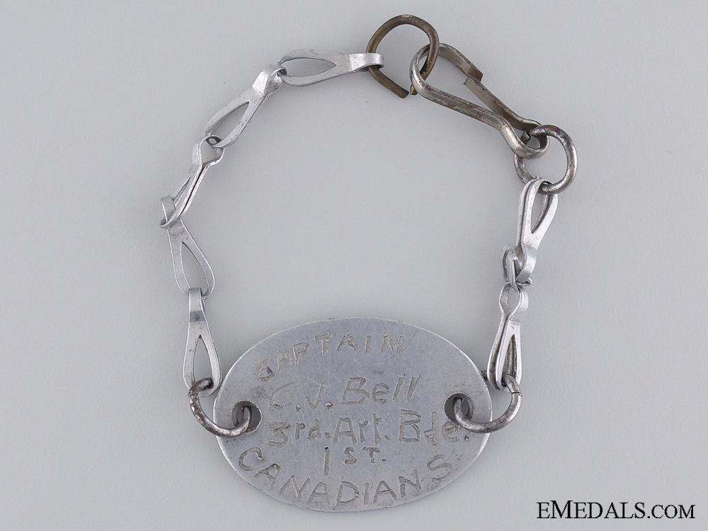 eMedals-A First War ID Tag to Captain C.J. Bell; 1st Canadians