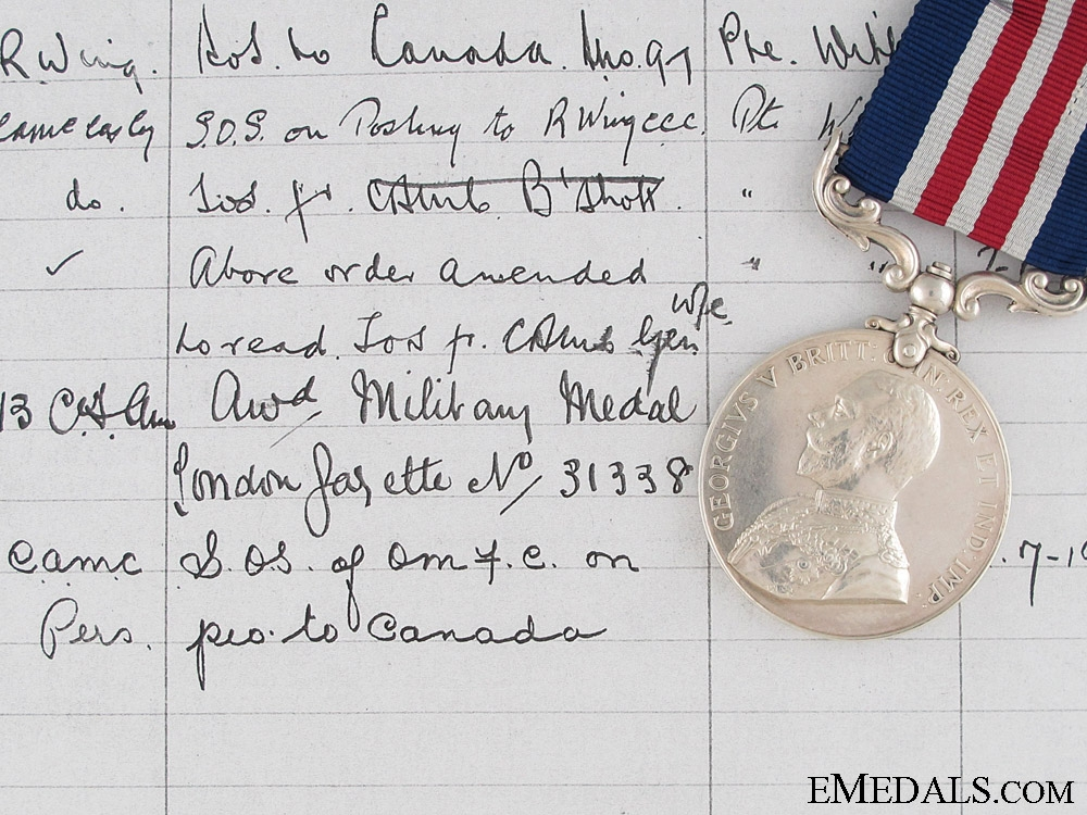 eMedals-A First War Military Medal to a Canadian Metis