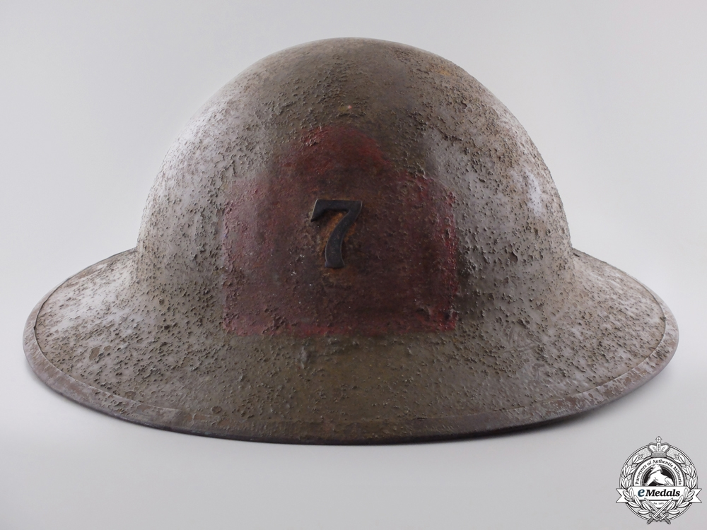 eMedals-A First War Mark II 7th Infantry Battalion 1st Canadian Division Helmet