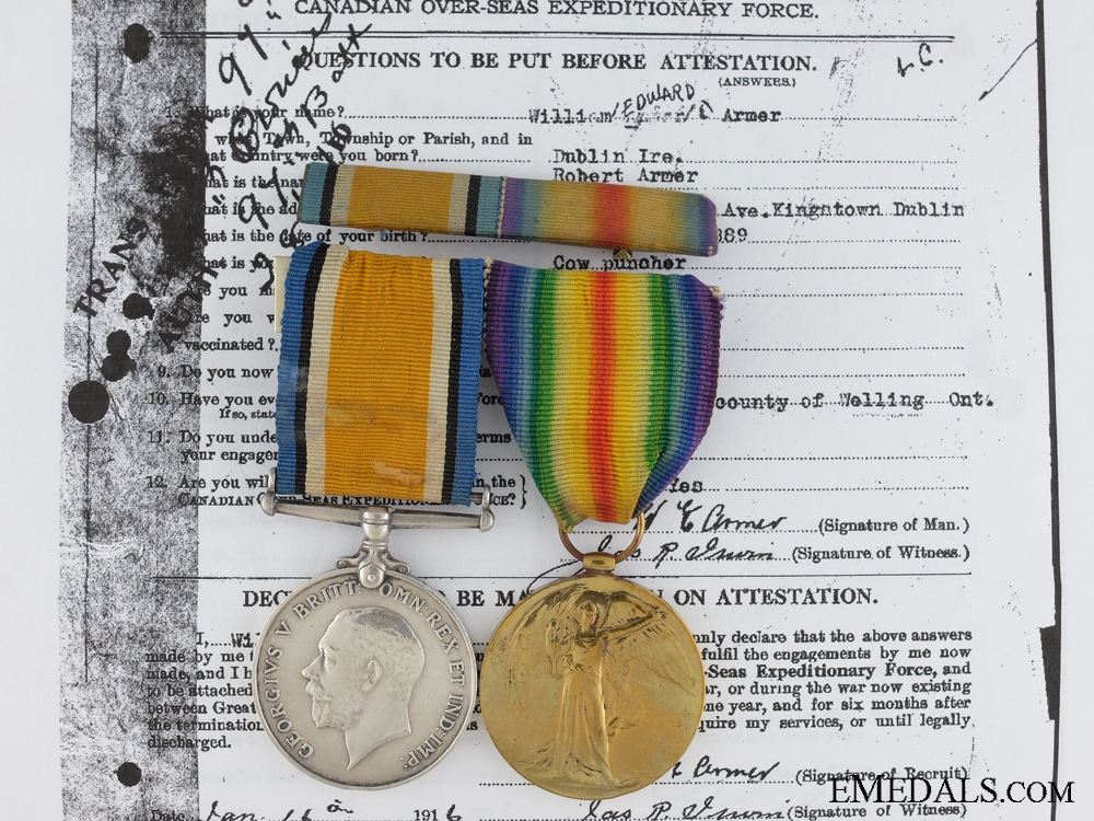 eMedals-A First War Medal Pair to the Canadian Railway Troops CEF